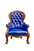 Luxury blue leather armchair isolated — Stok fotoğraf