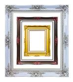 Antyczny styl drewna zdjęcie ramki obrazu na białym tle — Zdjęcie stockowe