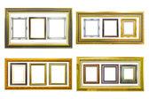 Golden wood photo image frame isolated — Stock Photo