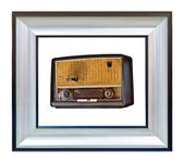 Vintage radio in modern wood frame isolated — Stock Photo