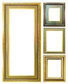 Collectie van gouden hout foto afbeelding frame geïsoleerd — Stockfoto