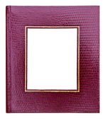 Red leather photo image frame isolated — Stock Photo