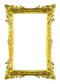 Golden wood picture image frame isolated — Stock Photo