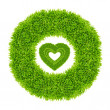 Green grass love heart frame — Stock Photo