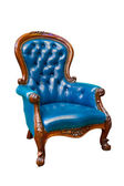 Luxury blue leather armchair isolated — Stock Photo