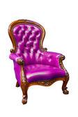 Luxury purple leather armchair isolated — Stock Photo