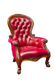 Luxury red leather armchair isolated — Stock Photo