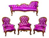 紫色の豪華な革張りのアームチェア — ストック写真