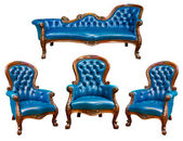 Set of luxury blue leather armchair — Stock Photo