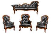 Reeks van luxe zwarte lederen fauteuil geïsoleerd — Stockfoto