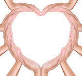 Heart create from hands — Stock Photo