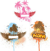 Set of three tropical scenes — Vector de stock