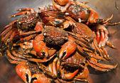 Krab parní vaření v nerezové misce — Stock fotografie