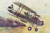 Old Thai Air force in duty painting on canvas — Stock Photo