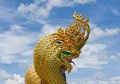 Five head of serpent statue — Stock Photo