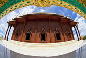 Wide angle frame of Thai teak temple — Stock Photo