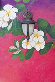 Old lantern on beautiful wall of flower — Stock Photo