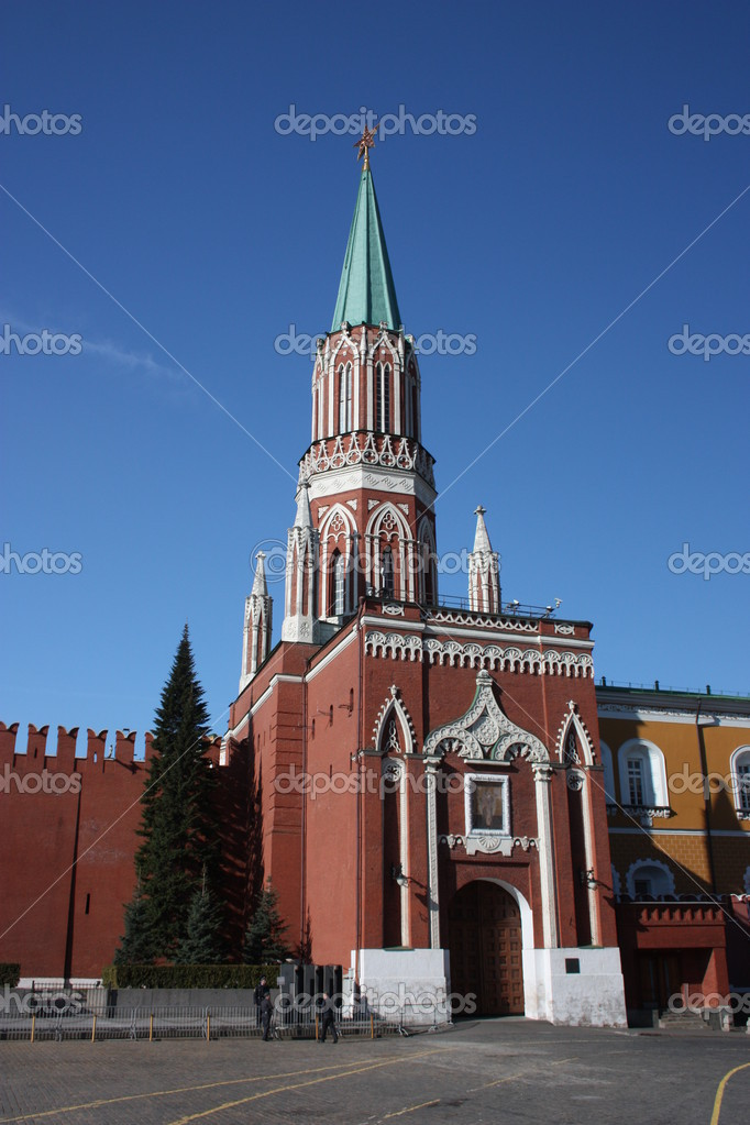 Russia, Moscow. Nikolskaya tower of Moscow Kremlin. — Stock Photo #6639211