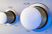 Volume and treble control knobs — Stockfoto