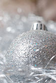 Silver bauble — Stock fotografie