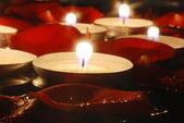 Svíčky a růží — Stock fotografie
