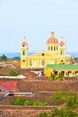 Granada cathedrak and lake Nicaragua. — Stock Photo