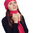 Pretty young woman in scarf and cap — Stock Photo
