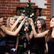 Group of gilrs celebrated christmas — Stock Photo #5926109