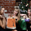 Stock Photo: Girls make present