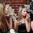 Three young women celebrated christmas — Stock Photo