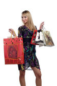 Beautiful young girl hold shopping bags — Stock Photo