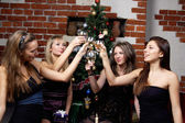 Group of gilrs celebrated christmas — Stock Photo