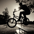 Boy jumping over bench  on bmx - Stock Photo
