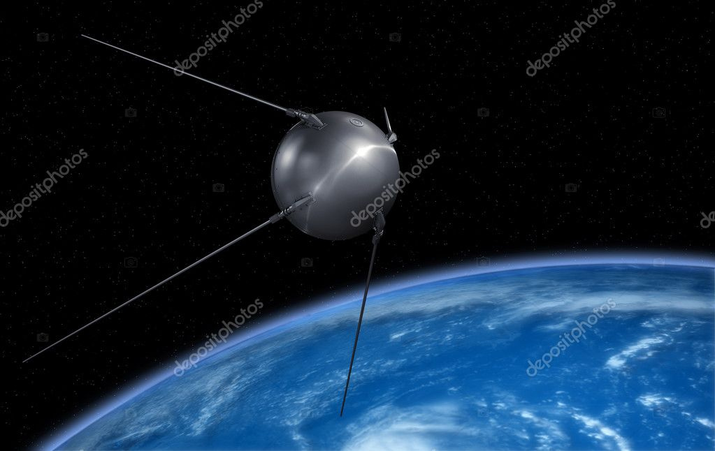 Sputnik satellite on earth orbit. — Stock Photo #5970915