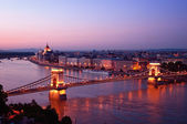 Budapest skyline by night — Stock Photo