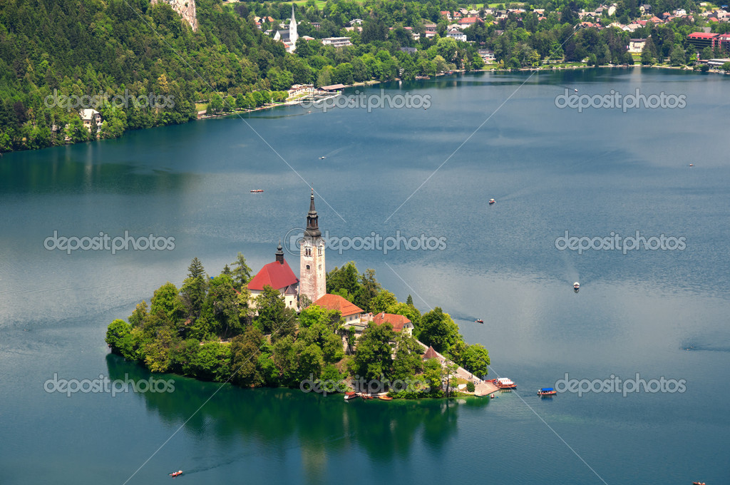 View of  St. Mary´s Church of the Assumptionon in Bled — Stock Photo #6171515