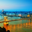 Budapest skyline by night - Stock Photo
