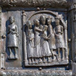 Bas-relief on the bronze doors of St. Sophia Cathedral. Veliky N — Stock Photo #6063648