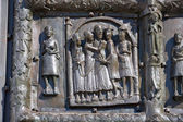 Bas-relief on the bronze doors of St. Sophia Cathedral. Veliky N — Stock Photo
