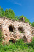 Ruined castle wall. Fortress Oreshek Shlisselburg. Russia — Stock Photo
