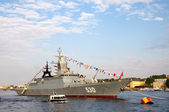 Warship on the river Neva. St. Petersburg. Russia — Stock Photo