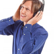 Young men feeling the music — Stock Photo #5394017