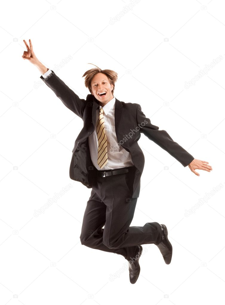 Successful business man jump on a white background  Stock Photo #5394200