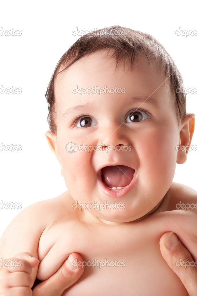 Bright portrait of adorable baby over white  — Stock Photo #5699626