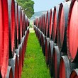 Stock Photo: Wine barrels in winery, France