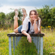 Portrait of the beautiful woman outdoors — Stock Photo