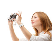 Beautiful Girl with the camera — Stock Photo