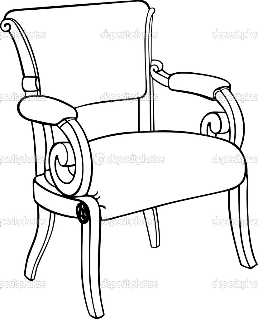 Antique chair drawing - Antique Chair With High Back Armchair Drawing