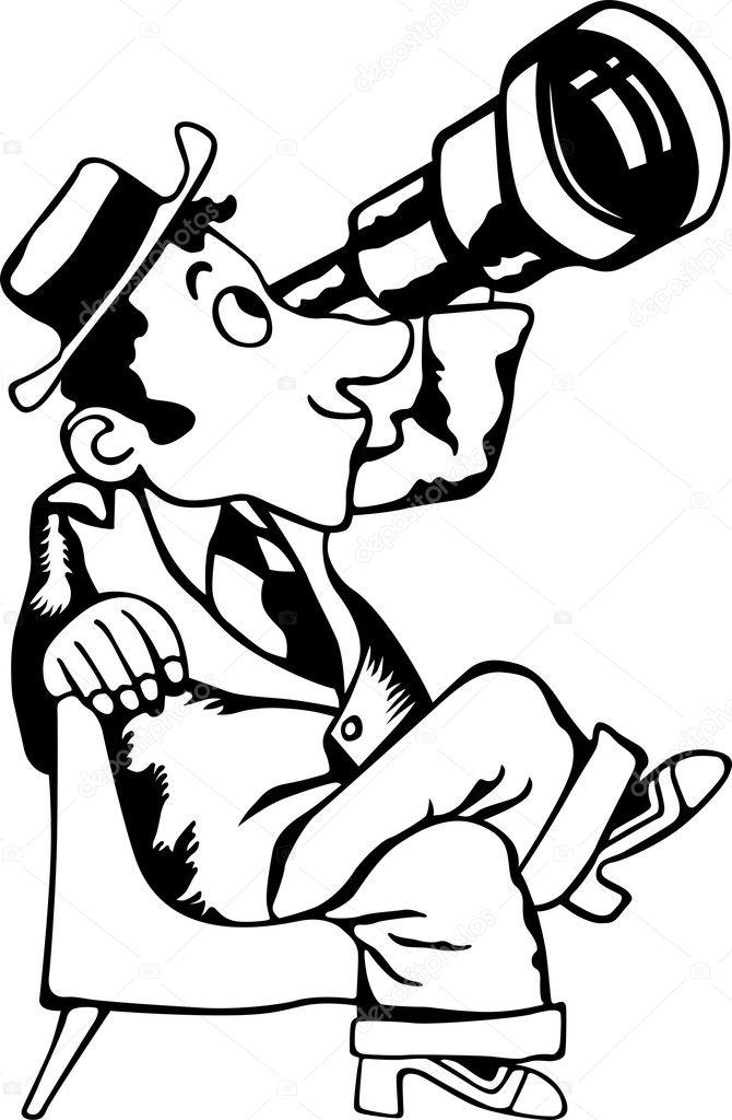 通过望远镜在白色背景上找人— 矢量图片作者 den.barbulat