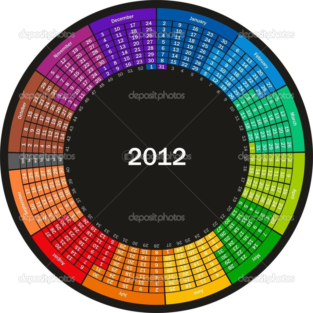  Round calender for 2012 with graphic elements on white background  Stock Vector #6194963